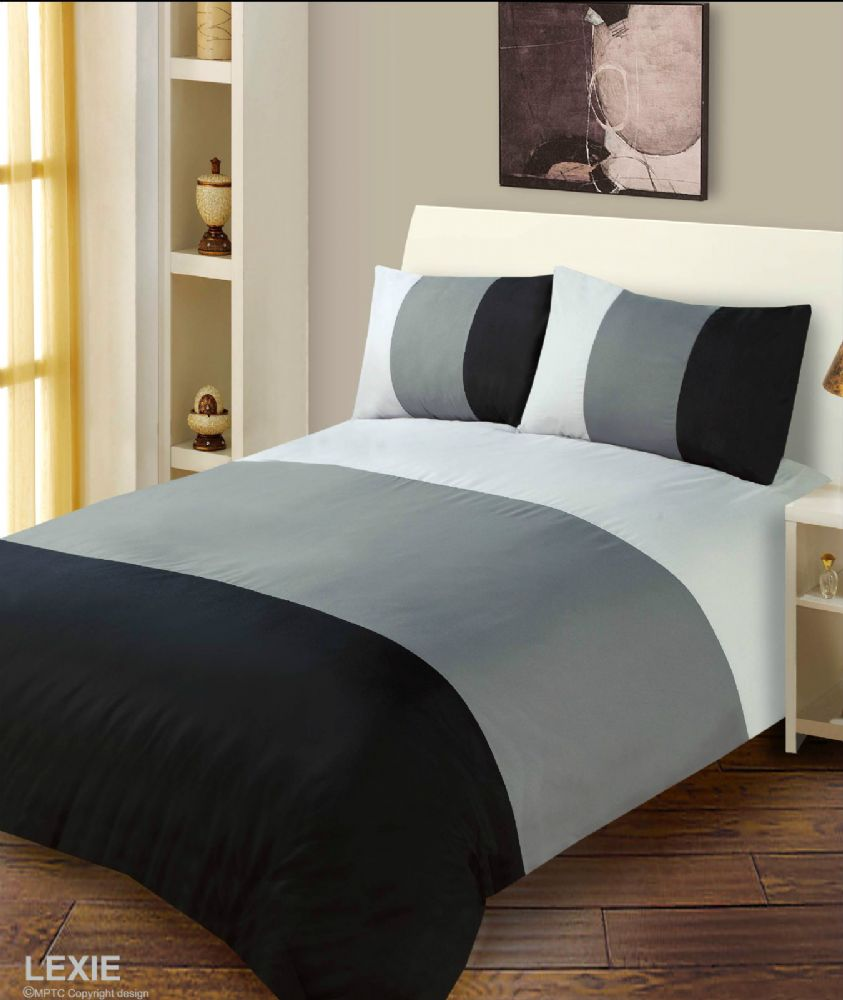 Black Amp Grey Colour Duvet Cover Microfiber Bedding Set